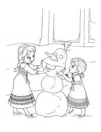 Лепят снеговика Раскраски с цветами распечатать бесплатно