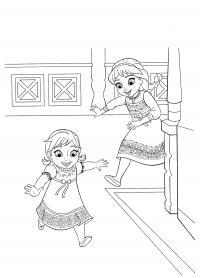 Ельза и анна играют Раскраски с цветами распечатать бесплатно