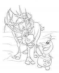 Олень и снеговик Раскраски с цветами распечатать бесплатно
