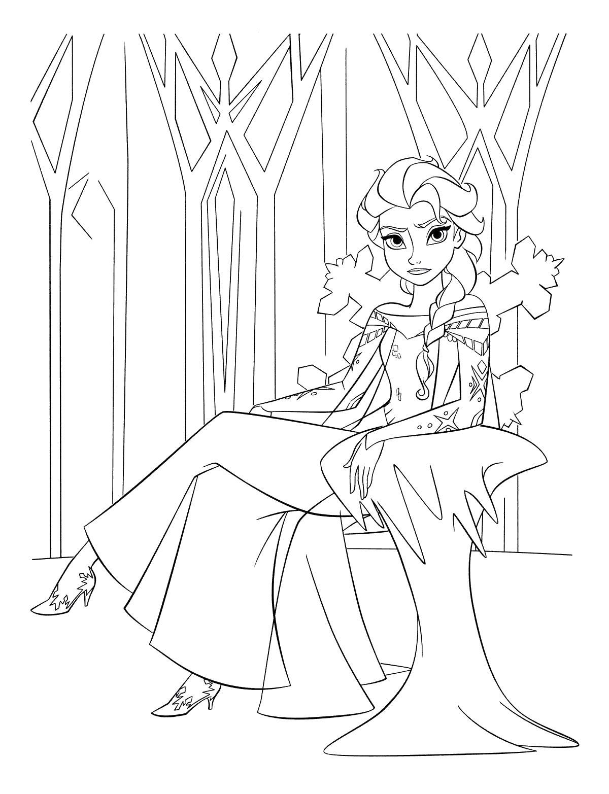 Ельза в льеденом замке Раскраски с цветами распечатать бесплатно