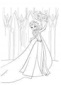 Ельза владеет снежным бурьем Раскраски с цветами распечатать бесплатно