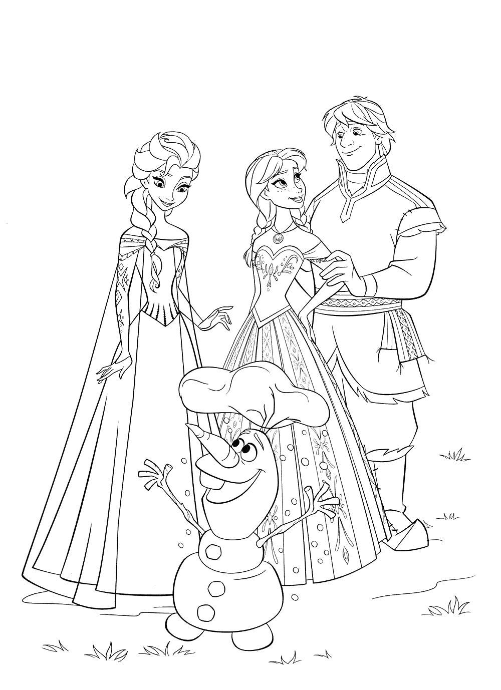 Олиф, ельза, анна, кристофер Раскраски для девочек бесплатно