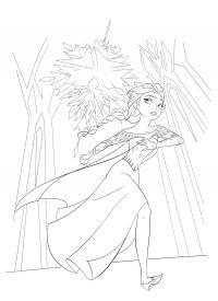 Ельза бежит воинов Раскраски с цветами распечатать бесплатно