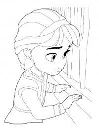 Ельза в комнате Раскраски для девочек бесплатно
