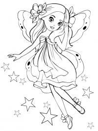 девочка бабочка Раскраски с цветами распечатать бесплатно