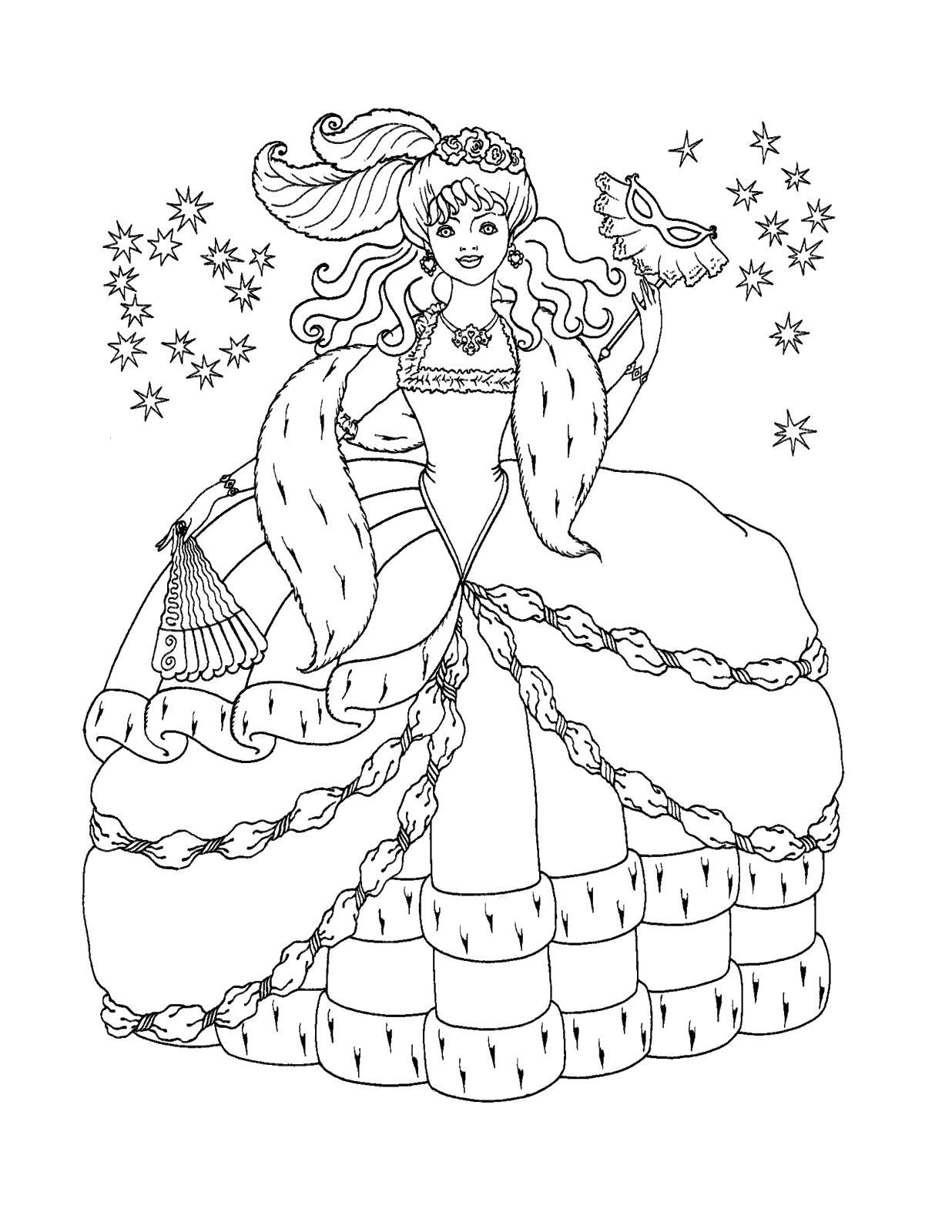 Принцесса на балу Раскраски с цветами распечатать бесплатно