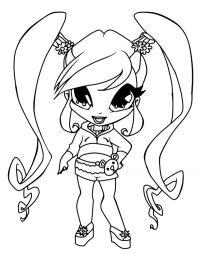 девочка с хвостиками Раскраски с цветами распечатать бесплатно