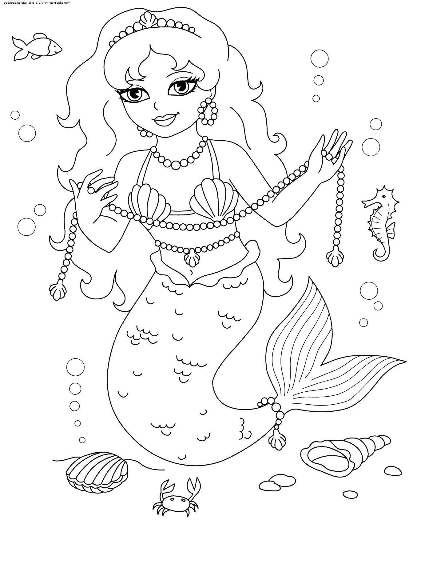 Русалка в море собирает жемчуг Галерея раскрасок с цветами ...