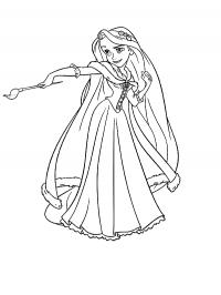 Рапунцель любит рисовать Раскраски для девочек онлайн