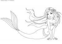 Красивая русалка Раскраски с цветами распечатать бесплатно