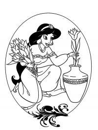 Жасмин ставит цветы на вазу Раскраски с цветами распечатать бесплатно