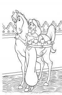 Жасмин кормит коня Раскраски с цветами распечатать бесплатно