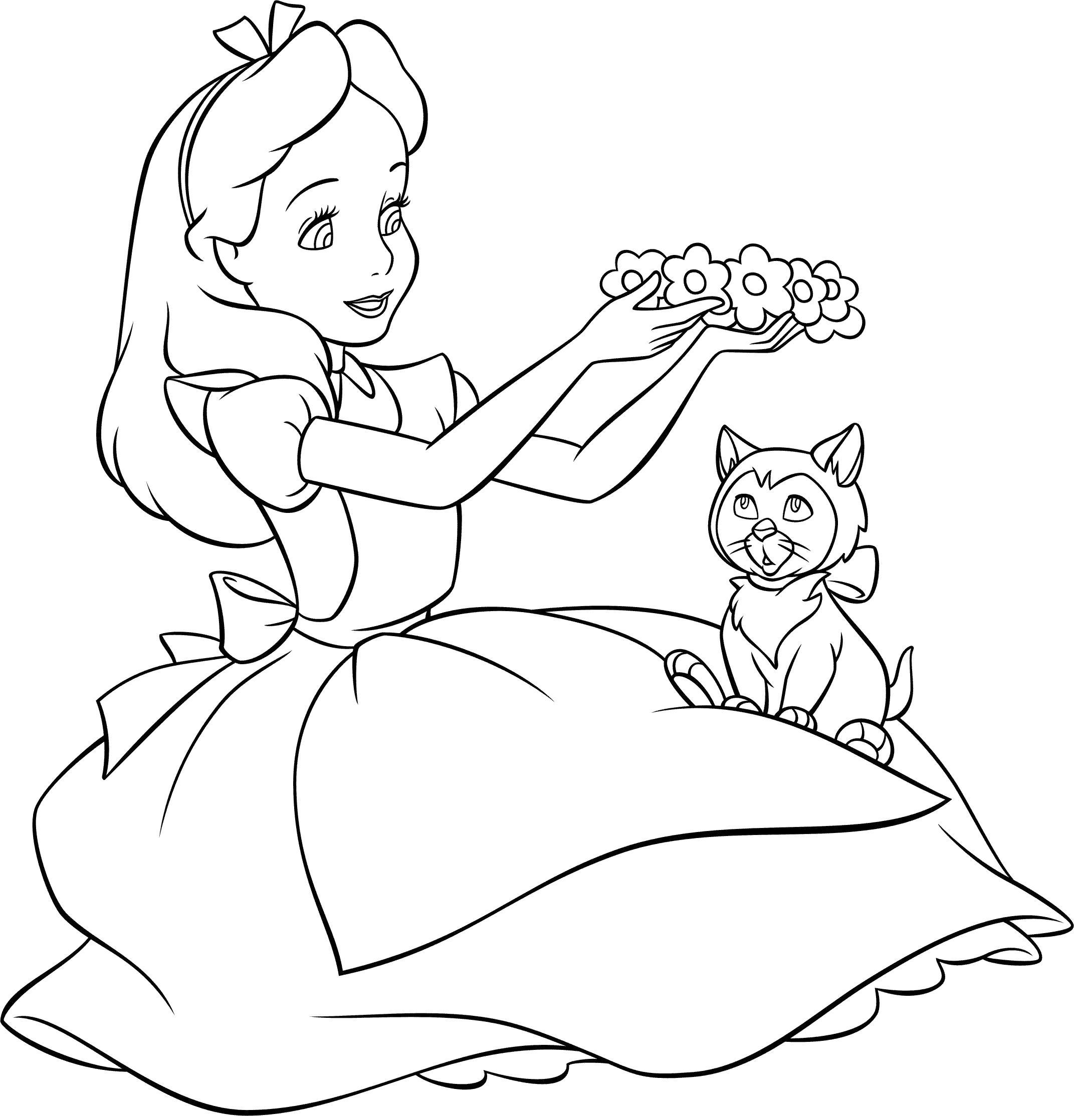 Алиса с котенком Раскраски с цветами распечатать бесплатно