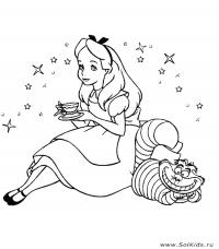 Алиса пьет чай Найти раскраски цветов