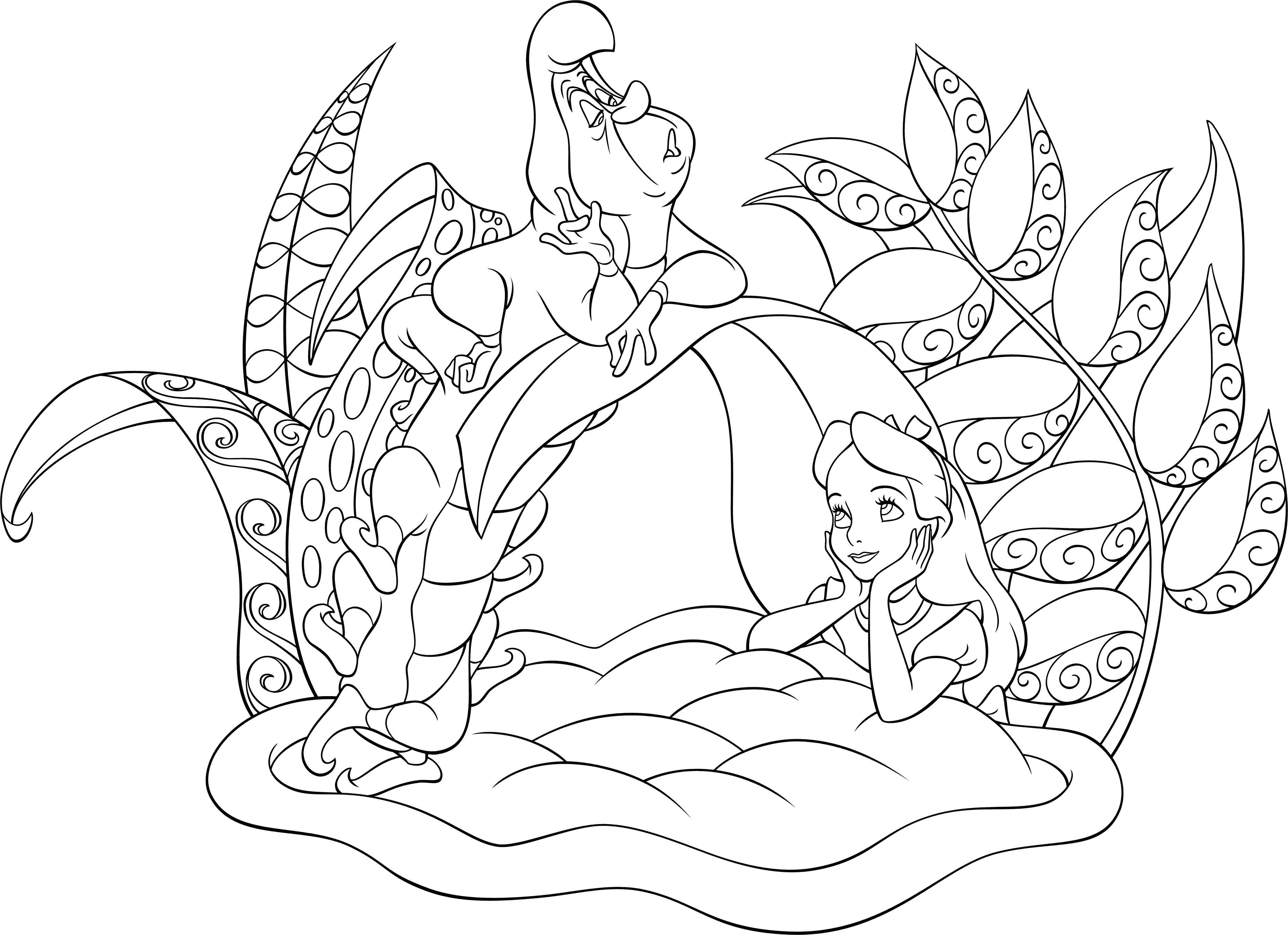 Алиса с гусеницей Найти раскраски цветов