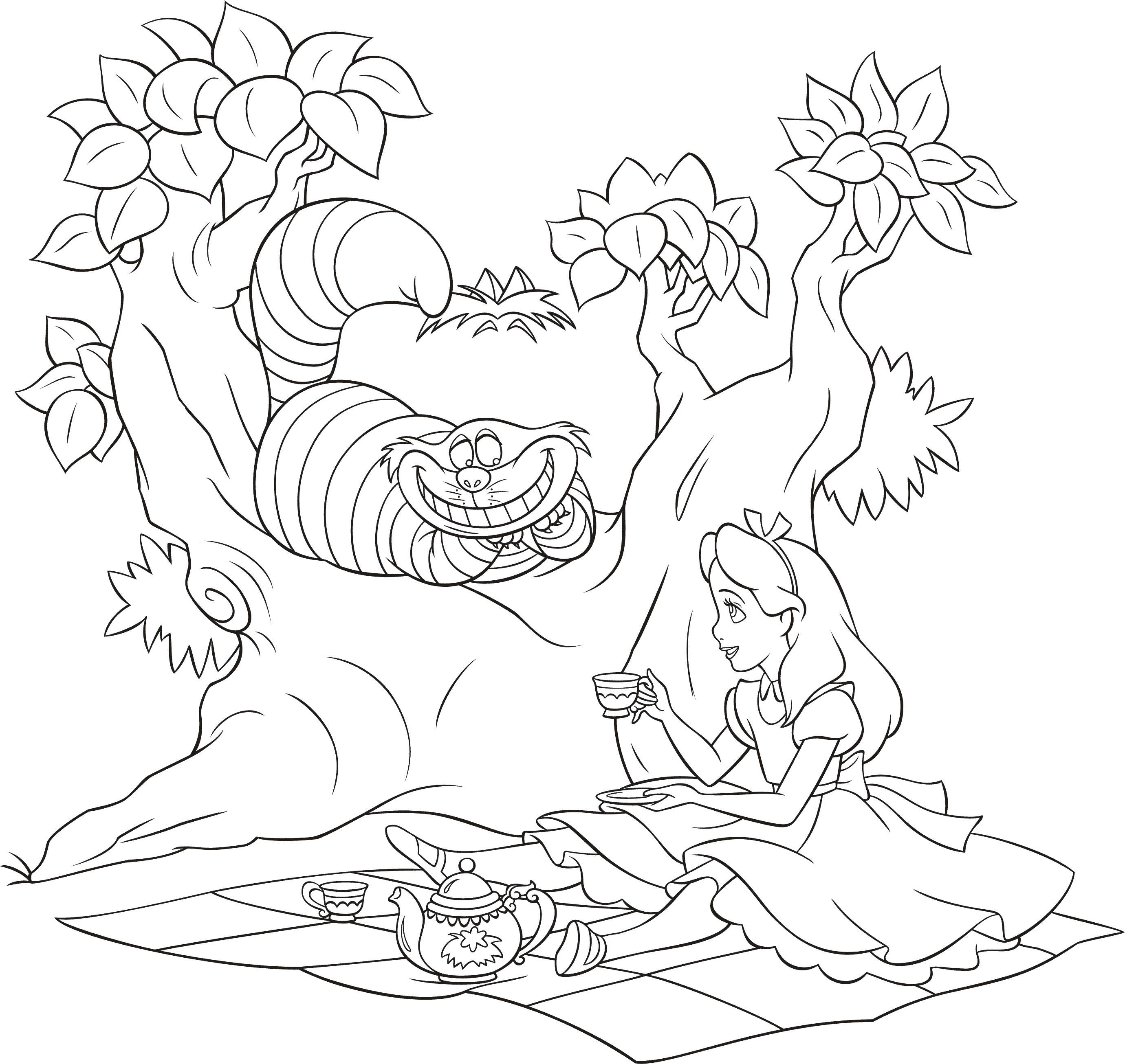 Алиса с котом Найти раскраски цветов