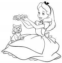 Алиса делает цветочный ободок Найти раскраски цветов
