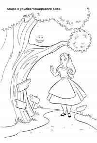 Чеширский кот Найти раскраски цветов