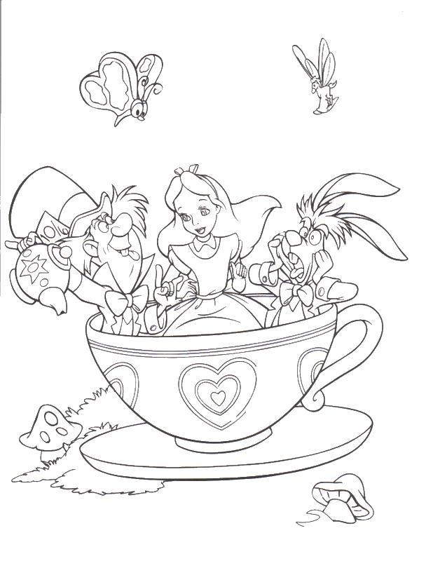 Алиса в кружке Найти раскраски цветов