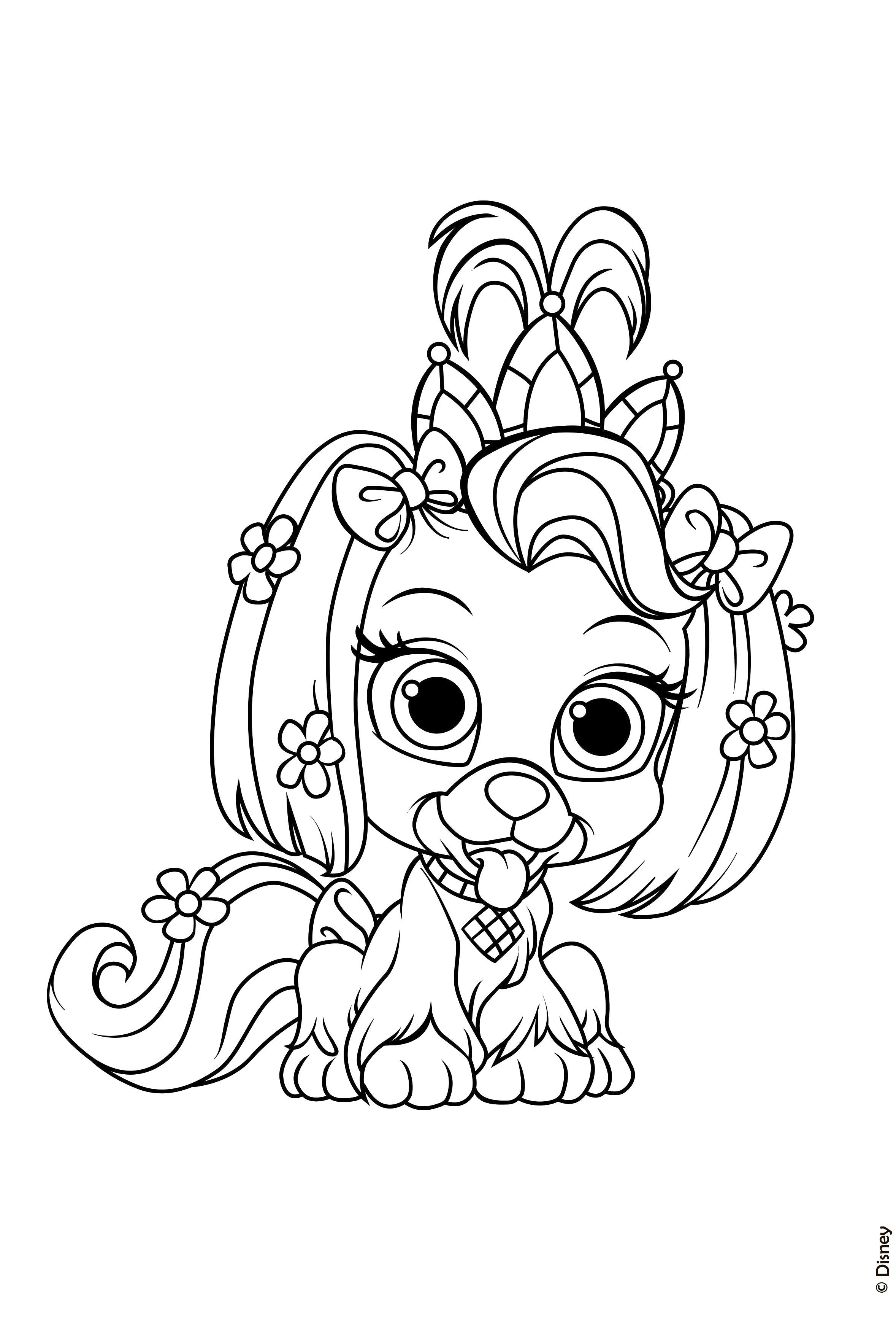 Принцесса собачка Цветы раскраски для детей