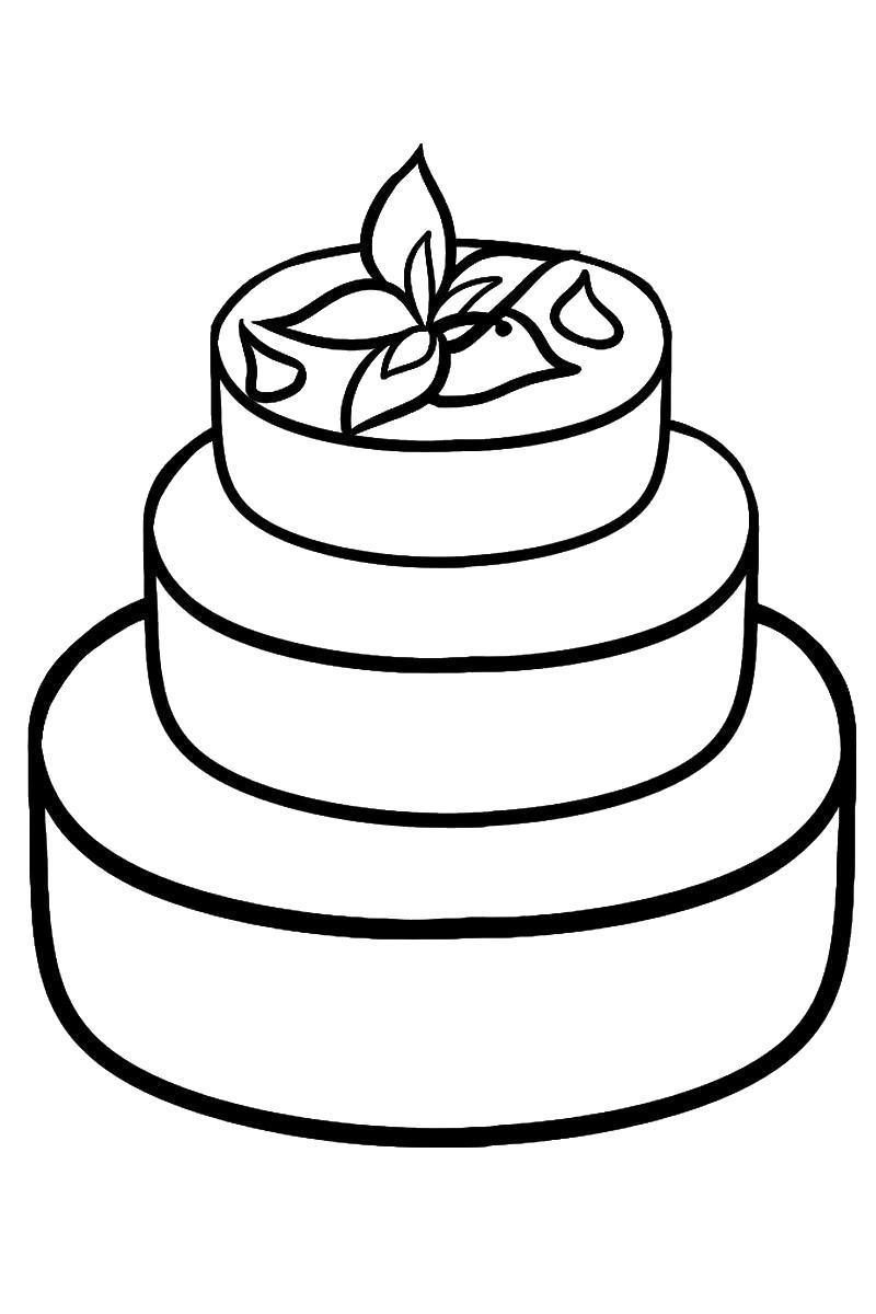Трехступенчатый торт Раскраски с цветами распечатать бесплатно