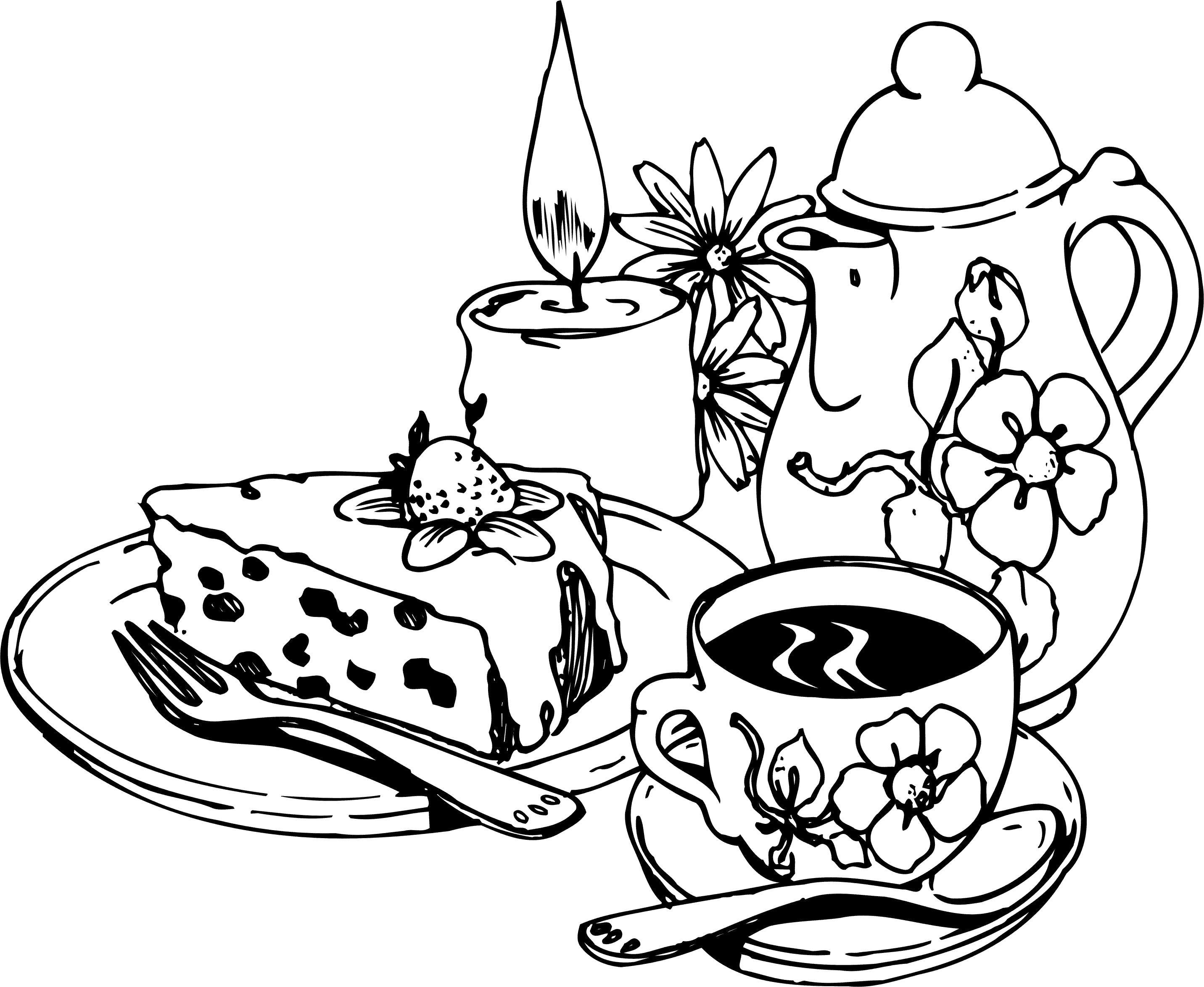 Торт к чаю Черно белые раскраски цветов
