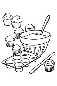 Приготовление кексов Черно белые раскраски цветов