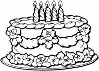 Торт Черно белые раскраски цветов