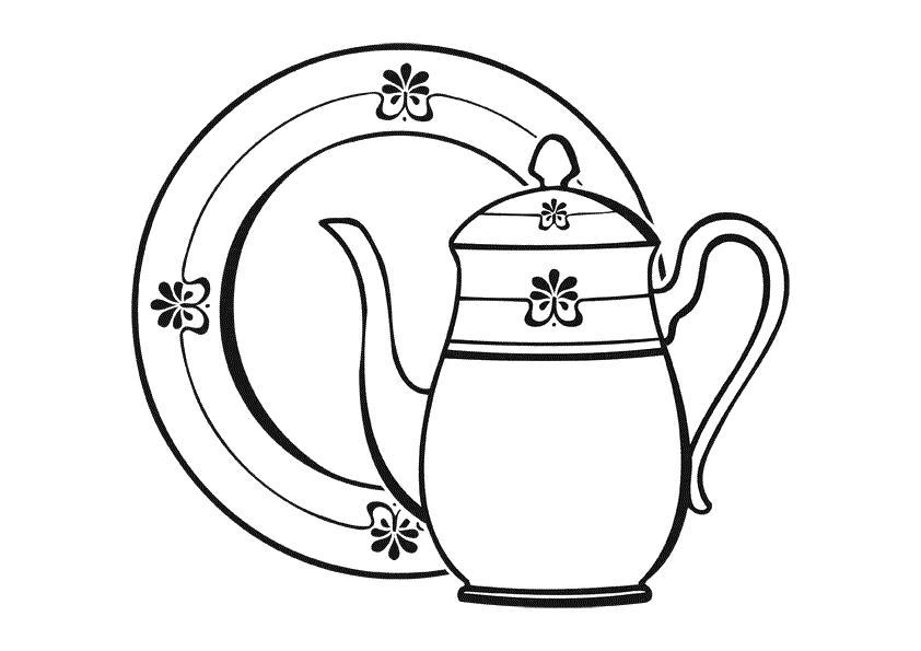Чайник с тарелкой Раскраски с цветами распечатать бесплатно