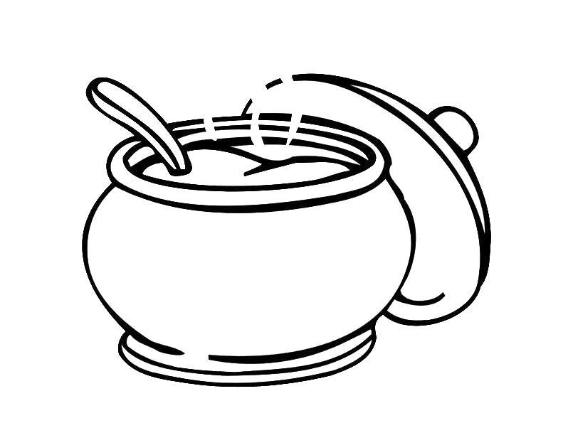 Суп в кастрюле Раскраски с цветами распечатать бесплатно