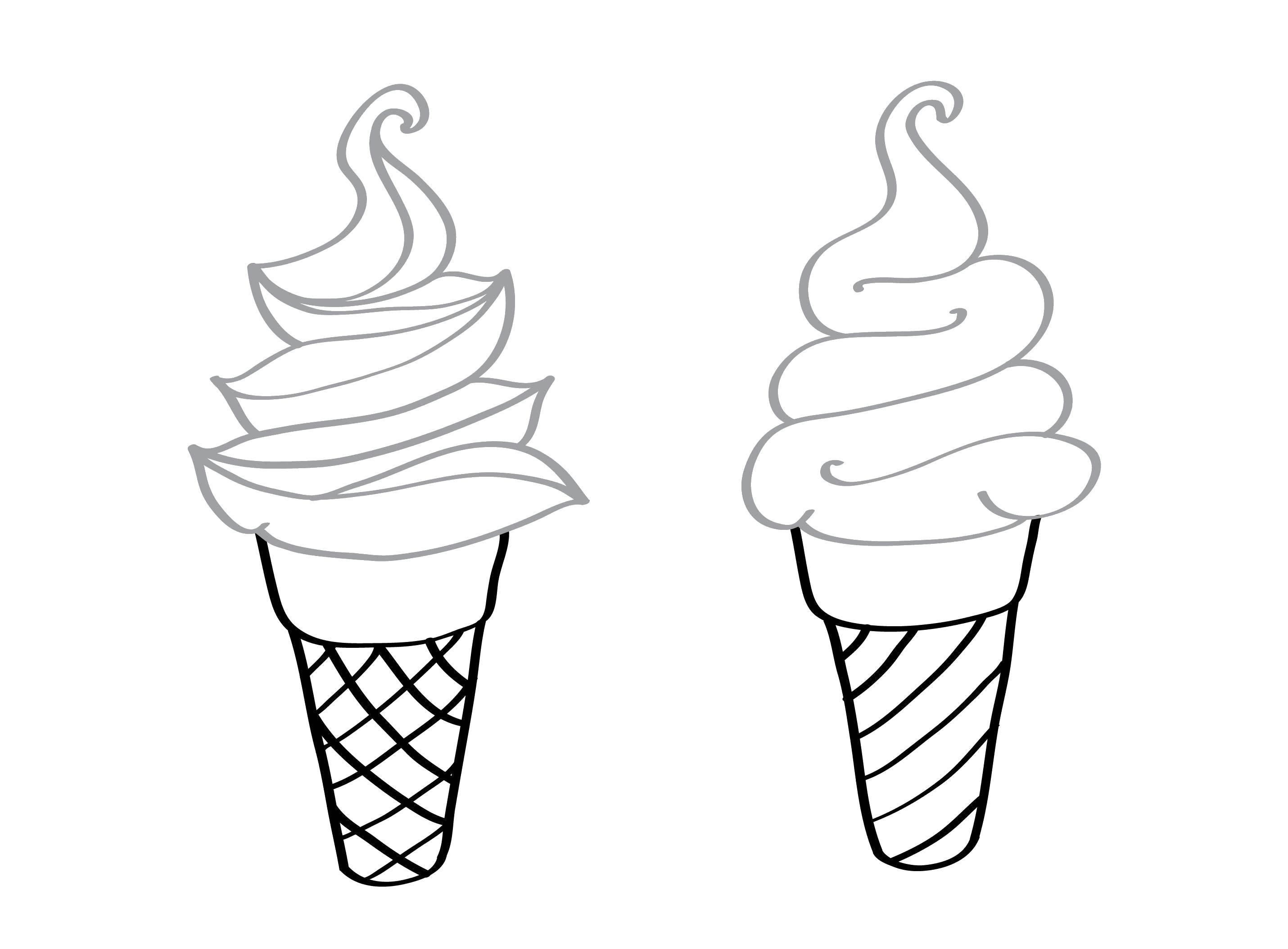 Два стакана мороженого Раскраска цветок для скачивания