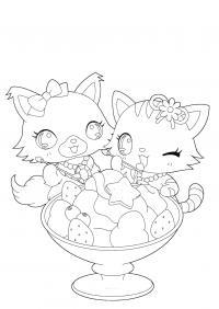 Котенки любят мороженное Раскраска цветок для скачивания