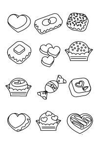Сладости кексы, печенье Черно белые раскраски цветов