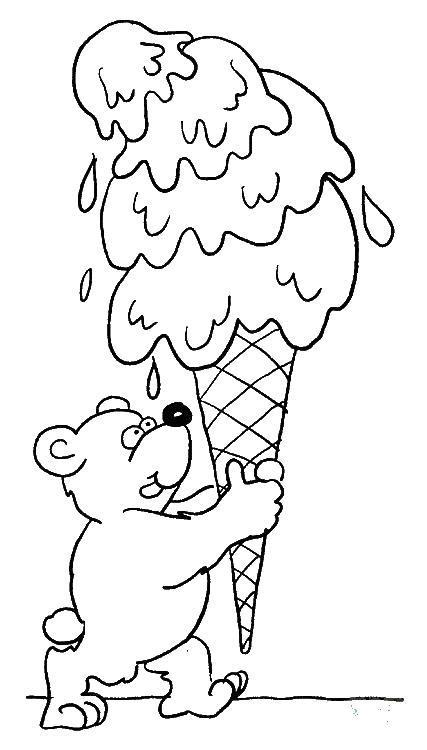 Мороженное мишки Раскраска цветок для скачивания