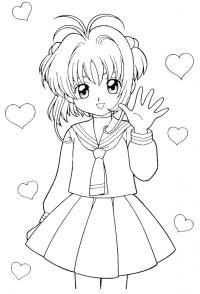 Девочка аниме Раскраски с цветами распечатать бесплатно