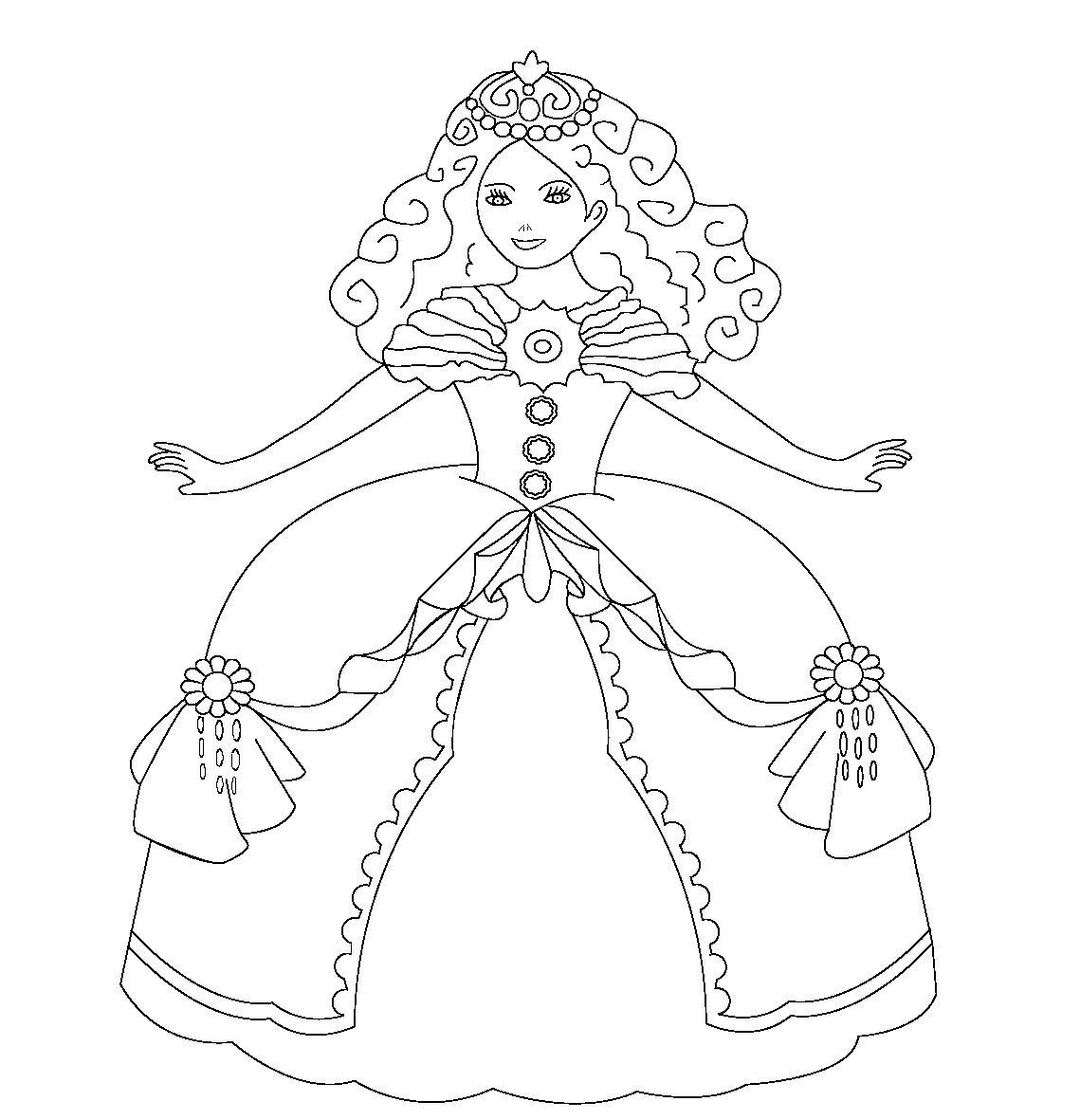 Принцесса в бальном платье идет на бал Раскраски для ...