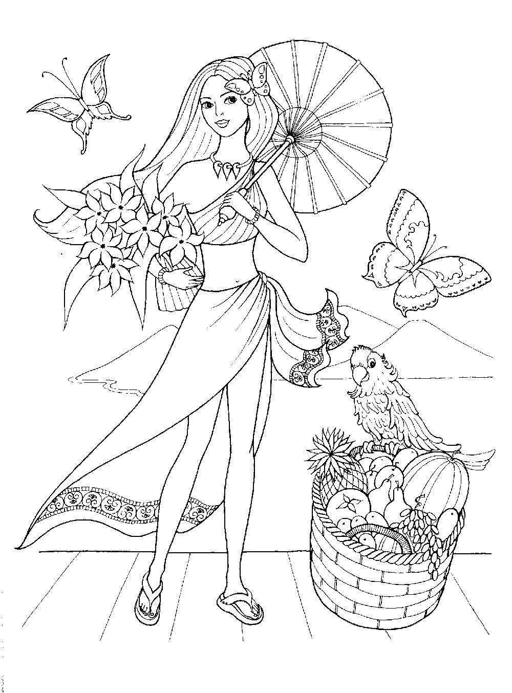 Девушка с зонтиком и цветами Раскраски с цветами распечатать бесплатно