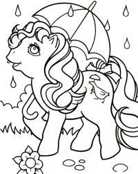 Лошадка с зонтиком под дождем Раскраски с цветами распечатать бесплатно