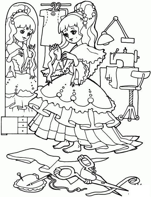 Шьет платье Скачать и распечатать раскраски цветов бесплатно