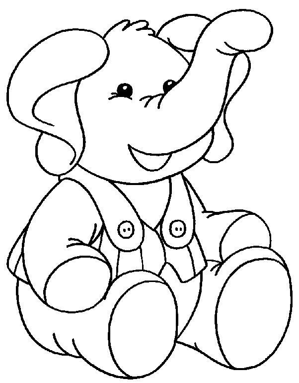 Слоник в комбинезоне Скачать и распечатать раскраски цветов бесплатно
