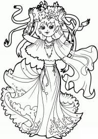 Девочка с веночком и ленточками Скачать и распечатать раскраски цветов бесплатно