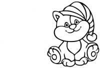 Котенок в шапочке Скачать и распечатать раскраски цветов бесплатно