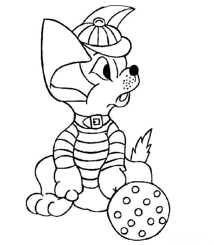 Щенок в кепке с мячиком Скачать и распечатать раскраски цветов бесплатно