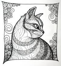 Узоры кот Новые раскраски с цветами