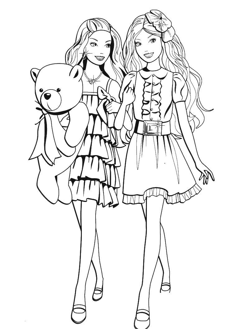 Барби с мишкой как близняшки Скачать новые раскраски цветы
