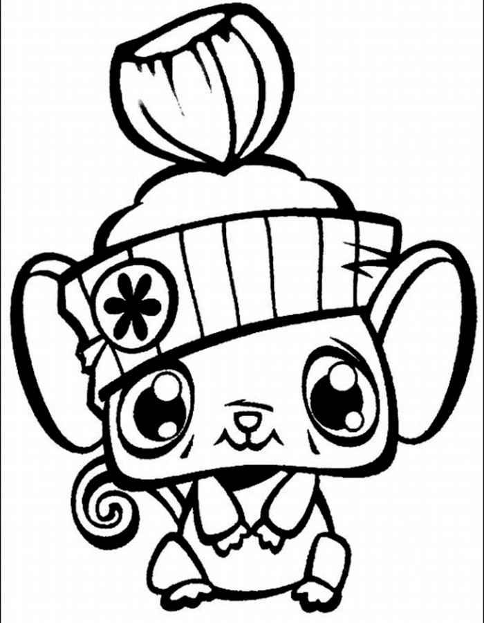 Мышонок в шапочке Раскраски цветы для девочек