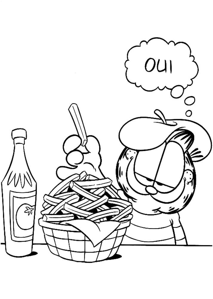Гарфилд  с картошкой фри Скачать раскраски с цветами