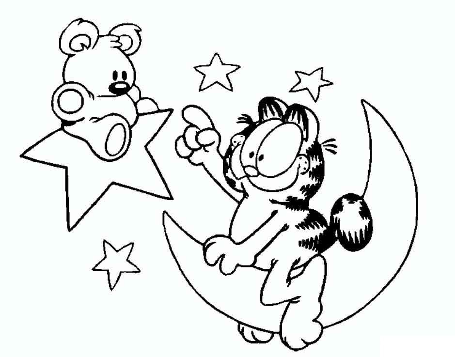Гарфилд на луне Скачать раскраски с цветами
