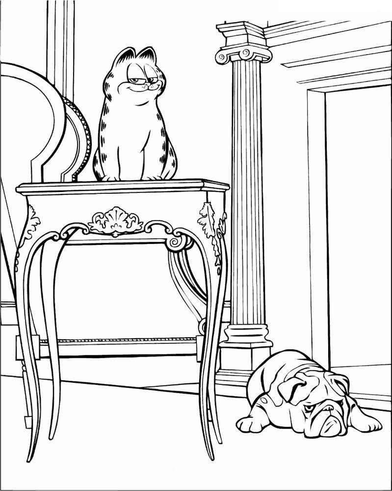 Гарфилд на столе и пес под столом Скачать раскраски с цветами