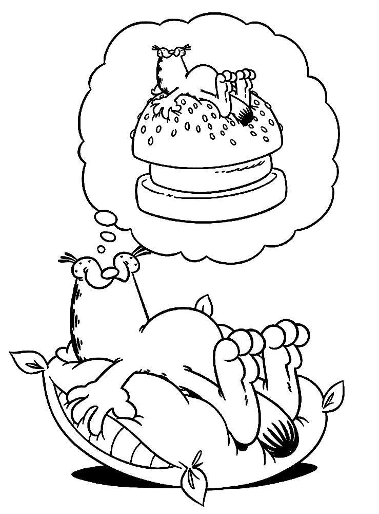 Гарфилд спит Скачать раскраски с цветами